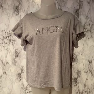 Vs Angels Sequined Spell out Logo grey top